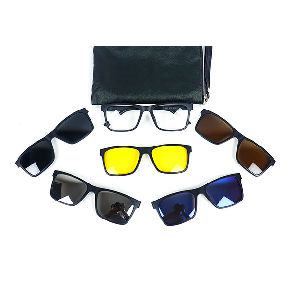 5 IN 1 RECTANGULAR MAGNETIC CLIP-ON SUNGLASS