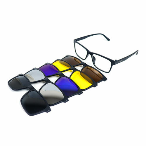 5 IN 1 RECTANGULAR MAGNETIC CLIP-ON SUNGLASS 13 LN_1619